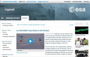 Cold Facts featured on ESA's website